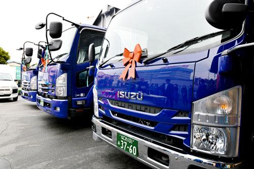 いすゞ自動車4t2台 2t1台 トラック新車納車式